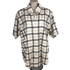 Nautica Button Down Shirt Plaid Short Sleeve Brown